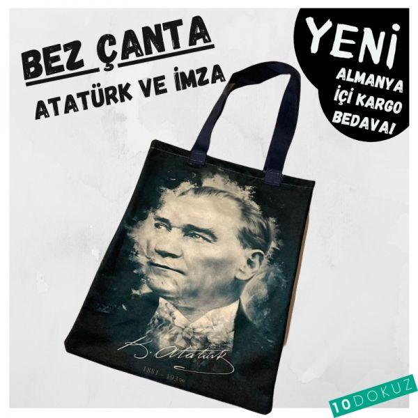 Atatürk ve İmza Bez Çanta Kod - Bez Çanta
