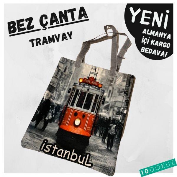 Kırmızı Tramway Bez Çanta Kod - Bez Çanta